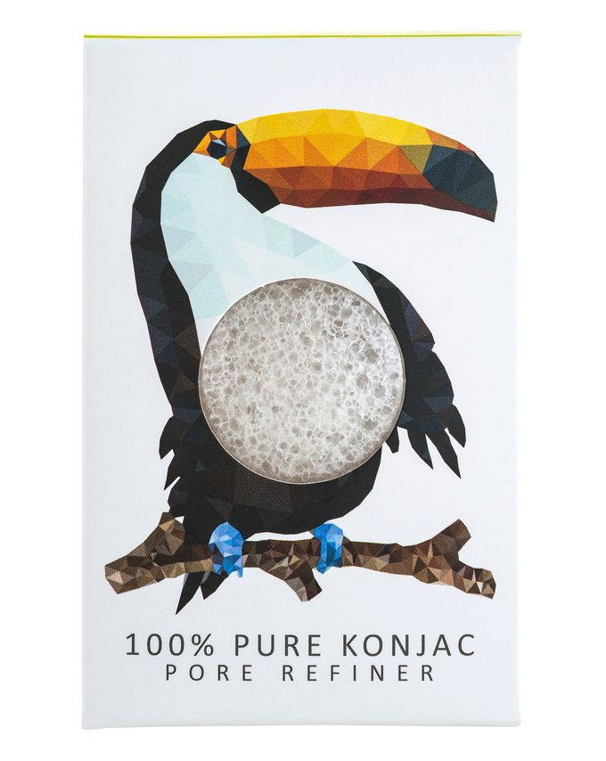 The Konjac Sponge Company Konjac Mini Pore Refiner Rainforest Toucan 100% Pure Konjac