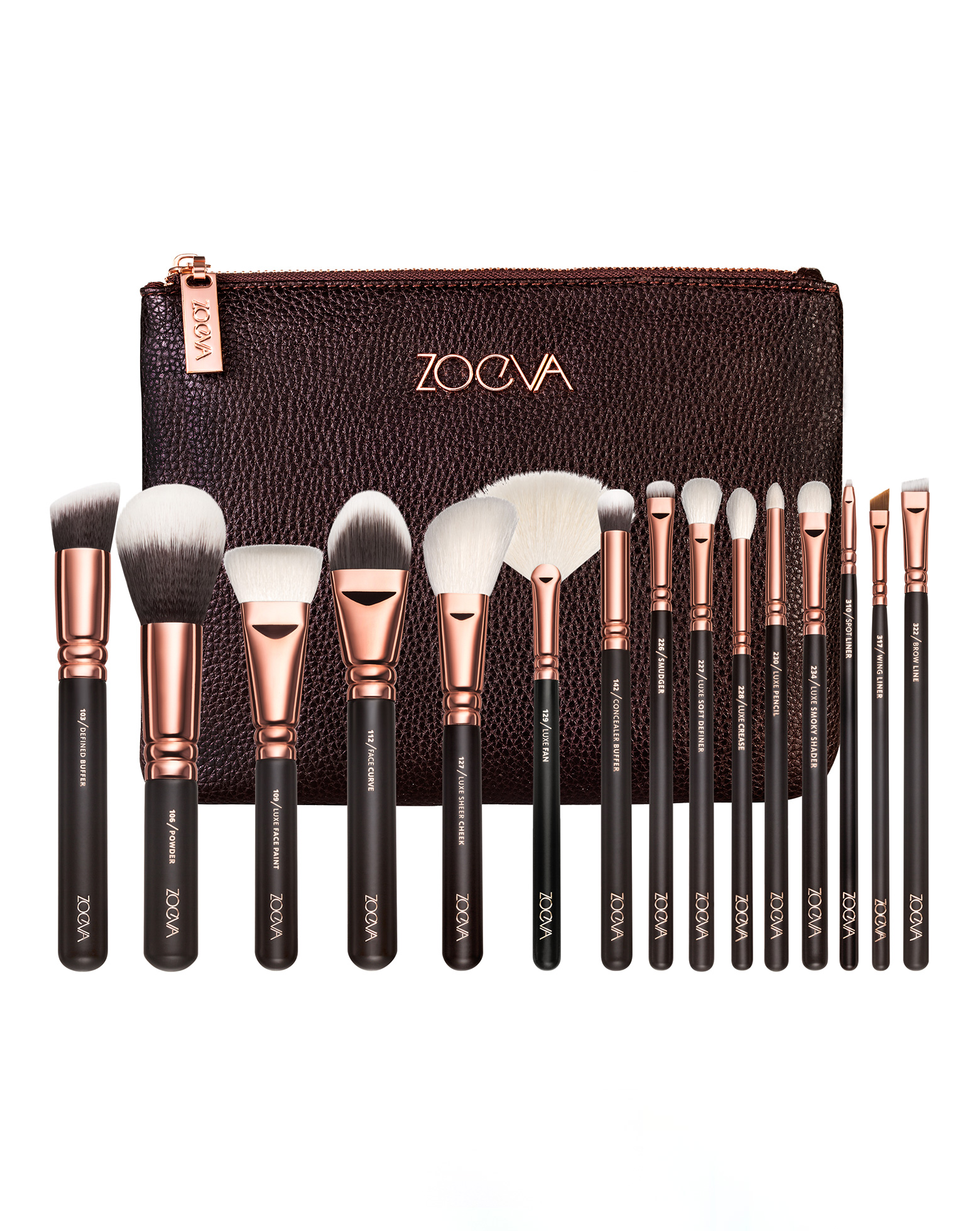 rose golden complete brush set volume 1 by zoeva. Black Bedroom Furniture Sets. Home Design Ideas